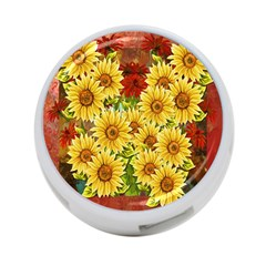 Sunflowers Flowers Abstract 4-Port USB Hub (One Side)