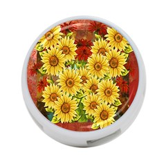 Sunflowers Flowers Abstract 4-Port USB Hub (Two Sides)