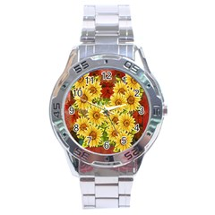 Sunflowers Flowers Abstract Stainless Steel Analogue Watch