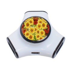 Sunflowers Flowers Abstract 3 Port Usb Hub