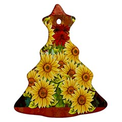 Sunflowers Flowers Abstract Ornament (christmas Tree)