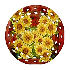 Sunflowers Flowers Abstract Round Filigree Ornament (two Sides)
