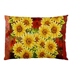 Sunflowers Flowers Abstract Pillow Case (Two Sides)