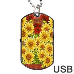 Sunflowers Flowers Abstract Dog Tag USB Flash (One Side)