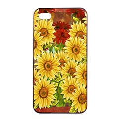 Sunflowers Flowers Abstract Apple iPhone 4/4s Seamless Case (Black)