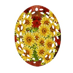 Sunflowers Flowers Abstract Ornament (oval Filigree)