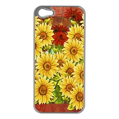 Sunflowers Flowers Abstract Apple Iphone 5 Case (silver)