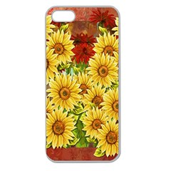 Sunflowers Flowers Abstract Apple Seamless iPhone 5 Case (Clear)
