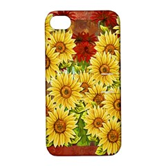 Sunflowers Flowers Abstract Apple iPhone 4/4S Hardshell Case with Stand