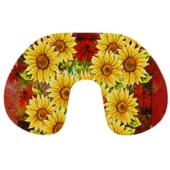 Sunflowers Flowers Abstract Travel Neck Pillows