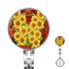 Sunflowers Flowers Abstract Stainless Steel Nurses Watch