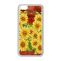 Sunflowers Flowers Abstract Apple Iphone 5c Seamless Case (white)