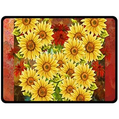 Sunflowers Flowers Abstract Double Sided Fleece Blanket (large)
