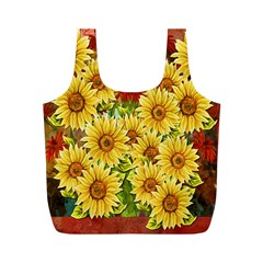 Sunflowers Flowers Abstract Full Print Recycle Bags (m)
