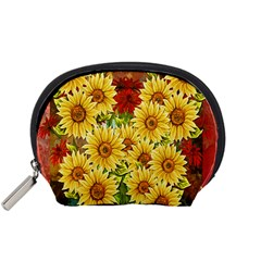 Sunflowers Flowers Abstract Accessory Pouches (small)