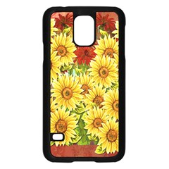 Sunflowers Flowers Abstract Samsung Galaxy S5 Case (Black)