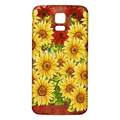 Sunflowers Flowers Abstract Samsung Galaxy S5 Back Case (White)