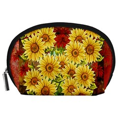 Sunflowers Flowers Abstract Accessory Pouches (large)