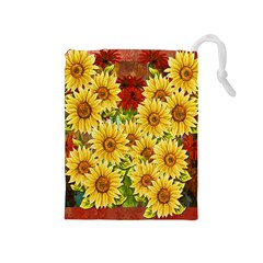 Sunflowers Flowers Abstract Drawstring Pouches (Medium)