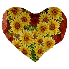 Sunflowers Flowers Abstract Large 19  Premium Flano Heart Shape Cushions