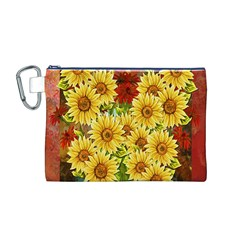 Sunflowers Flowers Abstract Canvas Cosmetic Bag (M)