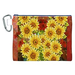 Sunflowers Flowers Abstract Canvas Cosmetic Bag (xxl)