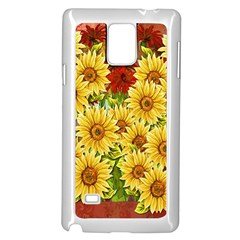 Sunflowers Flowers Abstract Samsung Galaxy Note 4 Case (White)