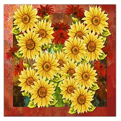 Sunflowers Flowers Abstract Large Satin Scarf (square)