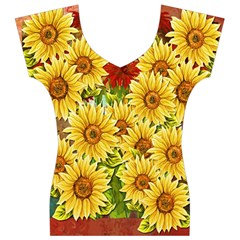 Sunflowers Flowers Abstract Women s V-Neck Cap Sleeve Top