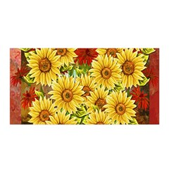 Sunflowers Flowers Abstract Satin Wrap