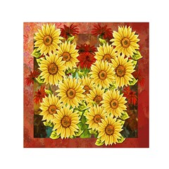 Sunflowers Flowers Abstract Small Satin Scarf (square)