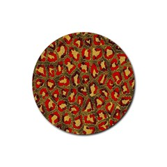 Stylized Background For Scrapbooking Or Other Rubber Coaster (round)