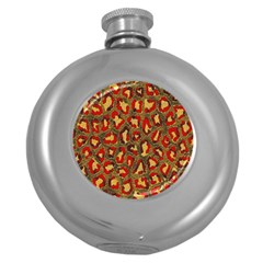 Stylized Background For Scrapbooking Or Other Round Hip Flask (5 Oz)