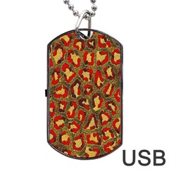 Stylized Background For Scrapbooking Or Other Dog Tag Usb Flash (one Side)