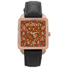 Stylized Background For Scrapbooking Or Other Rose Gold Leather Watch