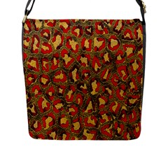 Stylized Background For Scrapbooking Or Other Flap Messenger Bag (l)
