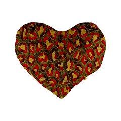Stylized Background For Scrapbooking Or Other Standard 16  Premium Flano Heart Shape Cushions