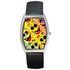 Abstract Background Backdrop Design Barrel Style Metal Watch
