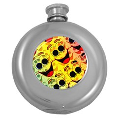 Abstract Background Backdrop Design Round Hip Flask (5 Oz)