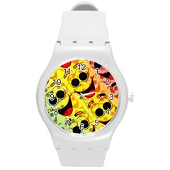 Abstract Background Backdrop Design Round Plastic Sport Watch (m)