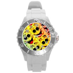 Abstract Background Backdrop Design Round Plastic Sport Watch (l)