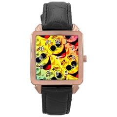 Abstract Background Backdrop Design Rose Gold Leather Watch