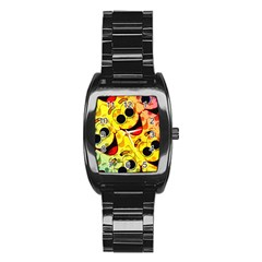 Abstract Background Backdrop Design Stainless Steel Barrel Watch