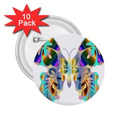 Abstract Animal Art Butterfly 2 25  Buttons (10 Pack)