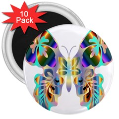Abstract Animal Art Butterfly 3  Magnets (10 Pack)