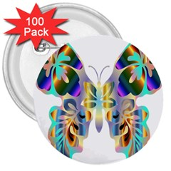Abstract Animal Art Butterfly 3  Buttons (100 pack)