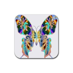 Abstract Animal Art Butterfly Rubber Square Coaster (4 Pack)