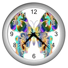 Abstract Animal Art Butterfly Wall Clocks (silver)