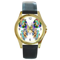 Abstract Animal Art Butterfly Round Gold Metal Watch