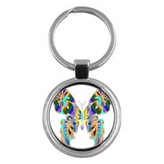 Abstract Animal Art Butterfly Key Chains (round)
